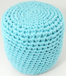 Crochet stool made with The Shirt Yarn