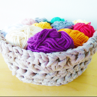 Crochet basket pattern made with t-shirt yarn
