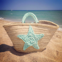 Beach bag with crochet star